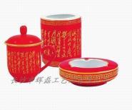 中国红瓷办公三件套件图片