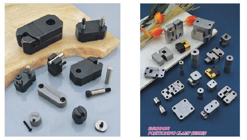 模具配件指的是模具行业专有的用于冲压模具、塑胶模具或FA自动化设备上的金属配件的总称。 冲压模具配件 模具配件的世界品牌及制造标准   DME、DME-EOC、HASCO、CUMSA、STRACK、RABOURDIN、PCS、MISUMI、PUNCN、PROGRESSIVE 模具配件的制造材料   钨钢、高速钢、轴承钢、不锈钢、黄铜、金属合金、弹簧钢、碳化钢等等 塑胶模具配件主要包含有   单节射梢、双节射梢、双节射梢、扁梢、扁梢、定位柱、塑胶模导套、直套、中柱套、塑胶模导套、直套、中托套、定位柱、方型辅