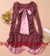 百变衣纺花様仙后修饰配色连身裙图片