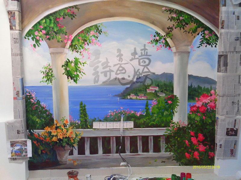 上海手绘墙墙绘生产供应上海电视背景