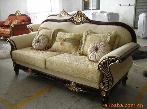 供应欧式风格布艺真皮沙发