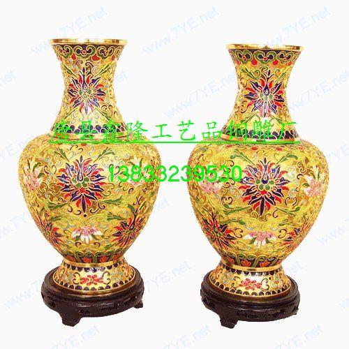 供应铜雕景泰蓝花瓶
