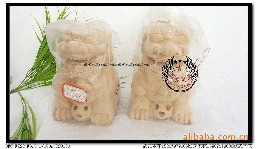 东阳木雕立体狮子柱头图片