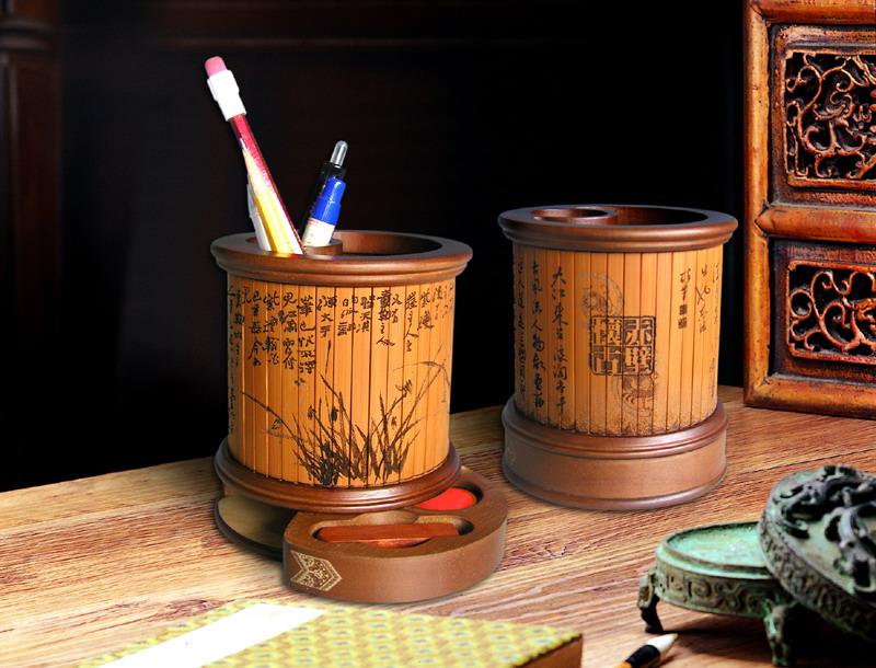 印章笔筒,竹木工艺品