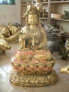 铜雕坐莲观音铸铜观音雕塑图片