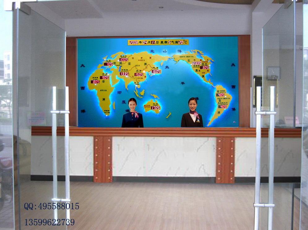 供应新建酒店 酒店大堂前台背景墙设计-新款世界时钟 酒店钟