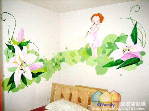 沙发墙彩绘成都手绘