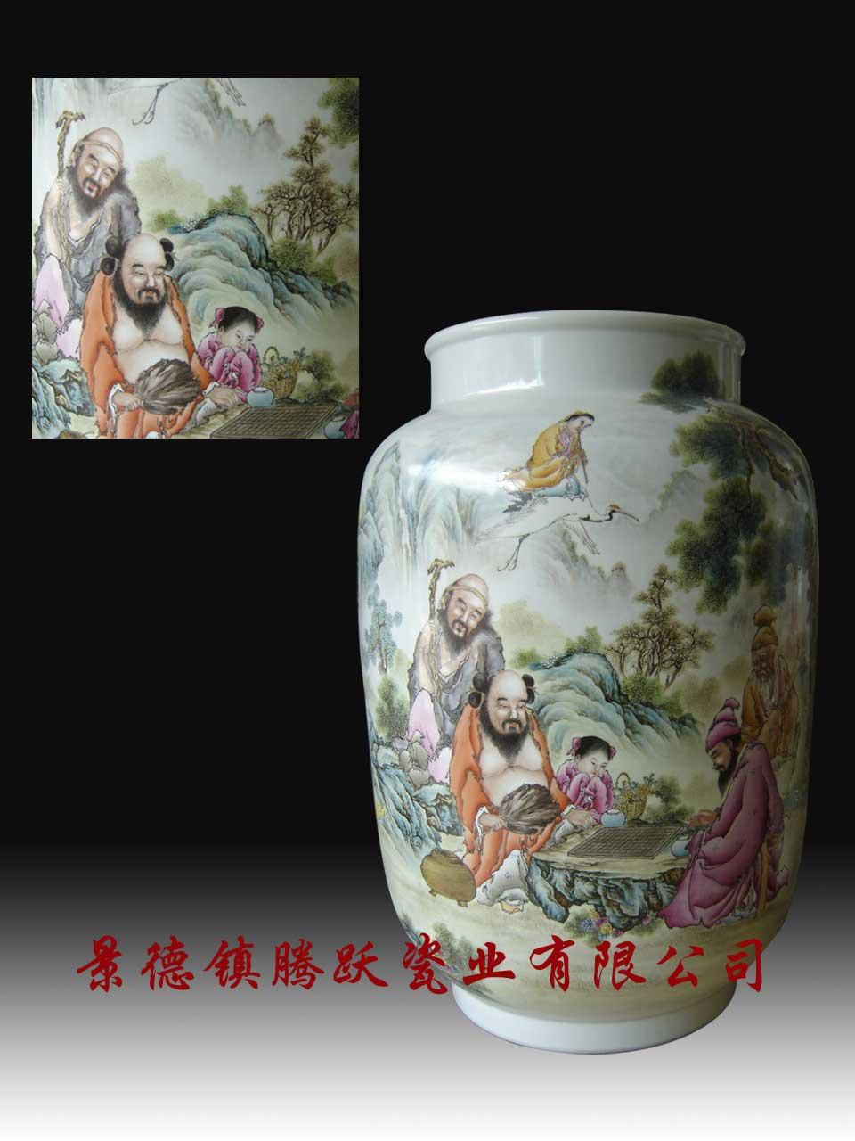 江西 景德镇 花瓶 > 花瓶供应商: 供应八仙过海◆名家粉彩高白泥陶瓷