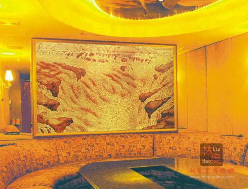雕刻玻璃图片 雕刻玻璃样板图 雕刻玻璃黄河颂 广东佛山林...