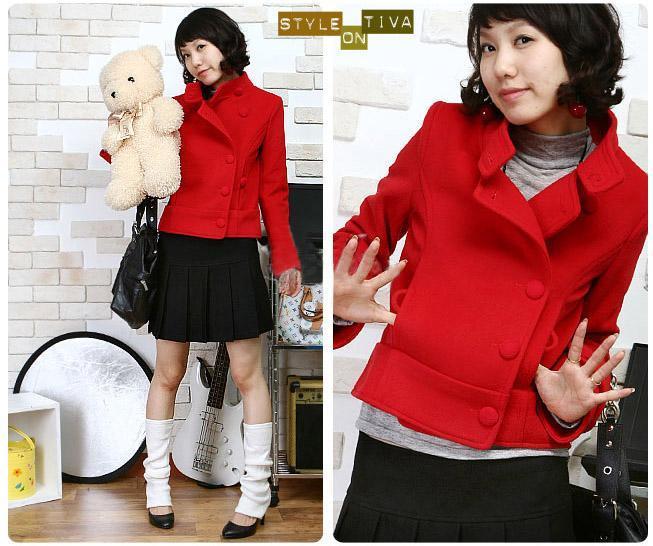 韩版呢子短装可爱大衣小包扣短外套