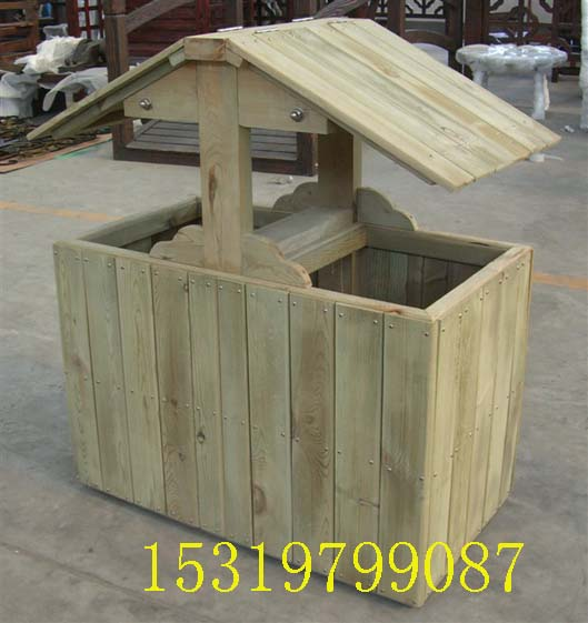 西安防腐木花箱垃圾箱图片