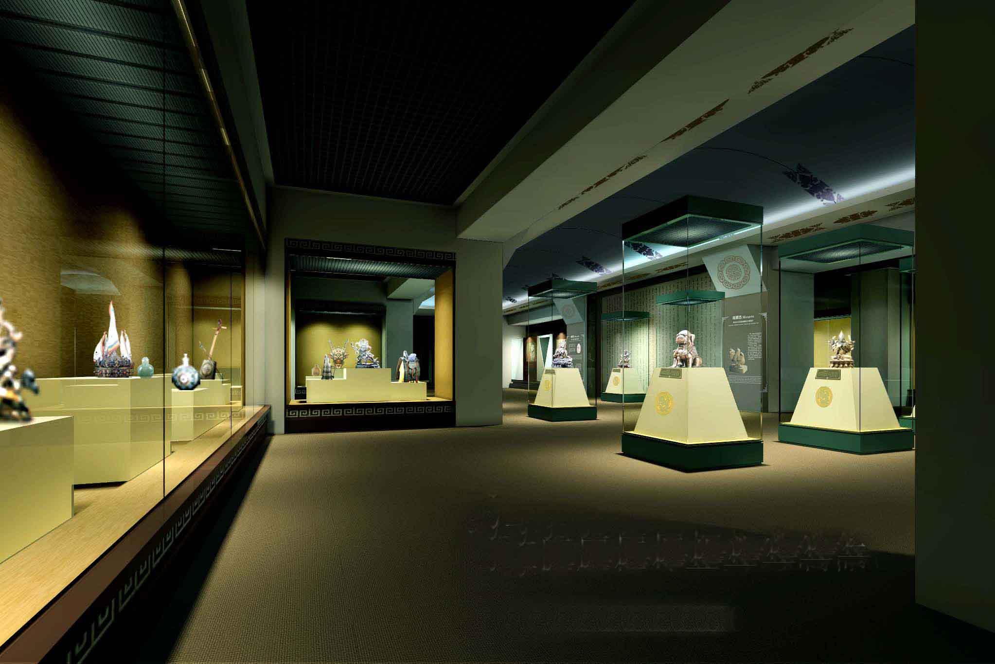 古玩展柜系列 展览馆室内装修设计注意哪些 概念设计上怎