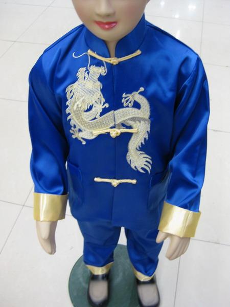 供应小金龙刺绣儿童唐装中式套装演出服批发