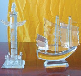 杭州北京上海天津重庆水晶帆船订购一帆风顺礼品水晶帆船纪念品
