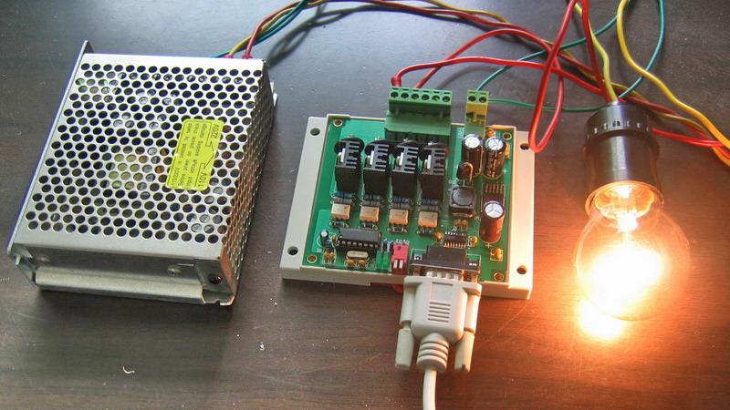 pc串口控制4路可控硅输出板电源电热丝电灯接触器控制